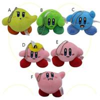 kirby doldurulmuş oyuncaklar toptan satış-Çocuklar yılbaşı hediyesi C5861 için Kirby Doldurulmuş Hayvanlar karikatür 3 inç Peluş Oyuncak Kolye Sevimli Anahtarlık