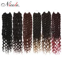 uzatma kilidi toptan satış-Nicole Saç Tığ Tanrıçası Locs Saç Uzantıları Sahte Locs Kıvırcık Tığ Örgüler Ombre Kanekalon Örgü Saç Bohemian kilitleri