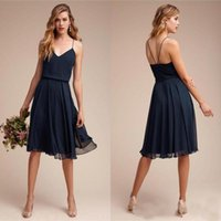 Wholesale short backless black prom dresses for sale - Group buy Simple Short Country Bridesmaid Dresses Knee Length Navy Blue Chiffon Spaghetti Formal Prom Party Gowns Sexy Backless Maid of Junior Dress
