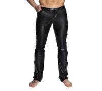 черные блестящие брюки оптовых-M-2XL Black Shiny PU Leather Pants Men Elastic Slim Fit Trousers Male Casual Motorcycle Faux Leather Jogger Pants