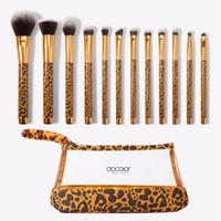 nylon 12 make-up großhandel-Make-up Pinsel Set Leopard Pinsel Mit Beutel 12 Stücke Foundation Textmarker Concealer Pudermischung Erröten Lidschatten Kosmetik Pinsel RRA1956