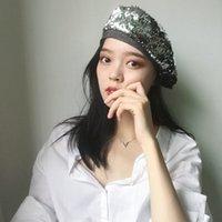 payet berber şapkaları toptan satış-H7476 Kadın Sequins Bereliler Şapka Sonbahar Kış Moda İngiliz Retro Bereliler Cap Bayanlar Ayarlanabilir Ressam Günlük All-maç Şapkalar
