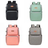Wholesale diapers purples resale online - Multi function Baby Diaper Backpack Solid Mummy Backpack Nappy With USB Interface Large Capacity Waterproof Nappy Bag Baby Care Diaper Bags