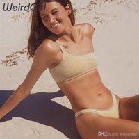 sarı pembe bikini toptan satış-Weirdgirl kadınlar setleri seksi plaj yaz tatil rahat bikini setleri külot katı sarı pembe mavi kolsuz camiş yeni