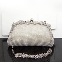 Wholesale gold elegant evening bag resale online - Brand New Diamonds Chain Evening Bag Wedding Bags For Bride Women Messenger Party Handbag Elegant Clutches Black Silver Gold