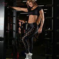 sexy schwarze lochgamaschen großhandel-Mode für Frauen Hosen Hip Schwarz Leggings dünnen Kreis-Loch-beiläufige reizvollen Workout Lange Hose Sommer Fitness-Frauen-Gamaschen