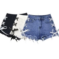 женские шорты лето оптовых-2019 Summer New High Waist Side Straps Denim Shorts Female A Word Wide Leg Pants Raw Hot Pants