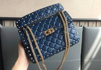 Wholesale imported cell phones for sale - Group buy Imported First Layer Lambskin Genuine Leather Eighteen Color cm Top Quality with Light Gold Rivet Women Cross Shoulder Bag
