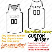 numéro de maillot de basketball achat en gros de-Basketball Jersey Ajouter sur mesure Nom de l'équipe Nom Numéro joueur Flex Base de Cool Base Cousu Taille S-XXXL Rouge Blanc Gris Marine Noir