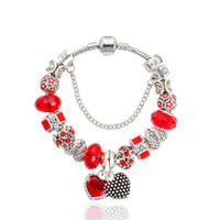 Wholesale angel wings beads resale online - 925 Silver Heart Pendant Bracelet for Pandora Glamour Red Noble Glass Angel Wings Bead Bracelet Beautiful Bracelet Jewelry for Gifts