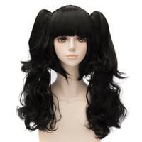 lolita wig hitzebeständig großhandel-Lolita Lange Pferdeschwänze Schwarz Japan Pony Hitzebeständige Anime Nette Cosplay Perücke