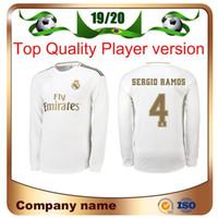 futbol formaları madrid'dir toptan satış-19/20 Real Madrid Oyuncu versiyonu Uzun Kollu Şampiyonlar Ligi TEHLİKE Futbol Forması 2019 Ev RAMOS KROOS ISCO ASENSIO MODRIK futbol forması