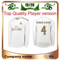 Wholesale long sleeves football jersey for sale - Group buy 19 Real Madrid Player version Long Sleeve Champions League HAZARD Soccer Jersey Home RAMOS KROOS ISCO ASENSIO MODRIC football shirt