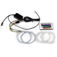 melek ürünleri toptan satış-Yeni ürün RGB Renk COB Melek gözler Yüzük 60mm Uzaktan Kumanda Araba Styling Gündüz Çalışan Işık