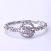 ingrosso bracciali animali-Designer Cheetah Silver Bangles Animal Design Bracciali Hot Luxury Wedding Wristlet New Fashion Silver Bangle Casual Wristbands Lover Gift