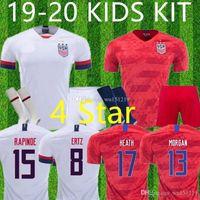 ingrosso usa bambini di calcio-Maglia 4 stelle 2019 KIDS KIT USA Soccer Jersey RAPINOE PULISIC DEMPSEY McKennie MORGAN Football LLOYD Uniform United States Shirt