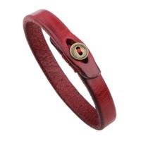 faixa de botão vermelho venda por atacado-Simple Black Red pulseiras de couro pequeno botão Charme Bangle Cuff pulseiras