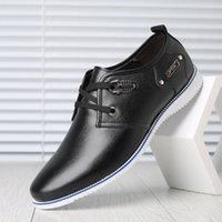 Wholesale asakuchi shoes resale online - Men S Casual Shoes Genuine Leather Solid Loafers Oxfords Spring Autumn Man Lace Up Asakuchi Breathable Rubber Flat Heel Shoes