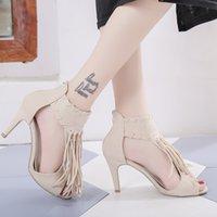 de49a3e9c2a Dress Fashion High Heel Sandals Women Pumps Summer Shoes Peep Toe Women  Gladiator Sandals Sexy Fringe Ladies Zipper Sandalia Feminina