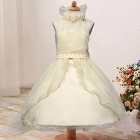 Wholesale cotton lace flower pearl online - Flower Girl Dress Princess Sleeveless Designed Tulle Clothing Pearl Belt Outfits kids Birthday Party Wedding Costume for Ys
