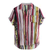 многоцветные блузки оптовых-2019 New Fashion High Quality Men  Stylish Mens Multi Color Lump Chest Pocket Short Sleeve Round Hem Loose Shirts Blouse