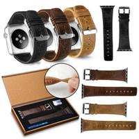 180c44755890 Para Apple Watch Band 38mm 40mm 42mm 44mm Correa de pulsera de cuero  genuino de lujo retro Crazy Horse reemplazo para iWatch4   3 2 1