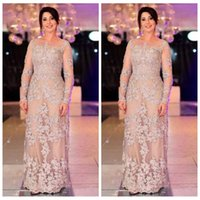 Wholesale mother dresses resale online - Sheer Long Sleeves Mother Dresses Lace Appliques Plus Size Bride s Mother Party Gowns Formal Long Special Occasion Party Gowns