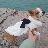 mascotas de piel al por mayor-Ropa para mascotas de lujo elegante de invierno de la piel del sobretodo pequeña ropa del gato del perro del Bowknot Chihuahua Puppy Accesorios perro de mascota