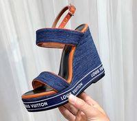 zapatos de boda cuñas al por mayor-Zapatos de boda de tacón alto de cuero para mujer, zapatos de fiesta, sandalias de tacón alto, zapatillas planas, casuales, sandalias de cuña