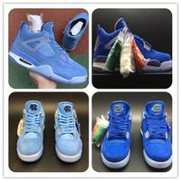 cuero de gamuza azul al por mayor-Con la caja 4s UNC PE para hombre Zapatillas de baloncesto 4 North Karan Silt Sapphire Blue Powder Gold Marbling gamuza de cuero tamaño 7-13 Envío gratis