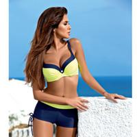 c271a6e2a Mulheres Amarelo Push Up Swimsuit Sexy Acolchoado Bikini Set 2019 Verão  Maiô Quente Beachwear Europa Plus Size Swimwear