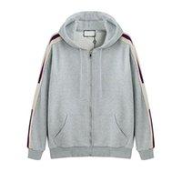 zip up hoodies kleidung großhandel-Grau Luxus Italien Designer Fashion Brand New HOODED ZIP-UP SWEATSHIRT MIT logo STRIPE Männer Hoodies Frauen Sweatshirts Mann Kleidung