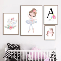 Wholesale painting baby girl for sale - Group buy Ballet Girl Custom Name Wall Art Canvas Painting Poster Swan Unicorn Wall Pictures Baby Girl Room Decor Babi Nordic Poster