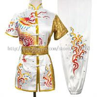 çin dövüş sanatları toptan satış-Çin Wushu üniforma Kungfu taolu kıyafet kıyafet dövüş sanatları takım Rekabet kimono Erkekler kadınlar erkek kız için rutin giysi çocuklar yetişkinler