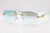mármol azul al por mayor-2019 Comercio al por mayor Gafas sin montura Hot Marble Blue Aztec SunGlasses Hot Metal Mix Arms 3524012 Gafas de sol unisex con estuche Gafas de sol New