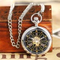 cadenas huecas masculinas al por mayor-Vintage Steampunk reloj de bolsillo mecánico mano viento astilla dorada hombre señora Hollow Fob cadena reloj para hombre mujer