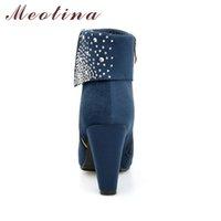 синие ботильоны размер 42 оптовых-Горячая продажа-г Женщины Boots Мода Толстые Высокие каблуки сапоги Кристалл Осень Ботильоны Для женщин обувь Синий Красный Большой размер 9 42 43