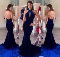 robes en velours sirène achat en gros de-Velvet Royal Blue Halter Mermaid Robes de Soirée 2019 Nouveau Sexy Dos Nu Longue Balayage Train Pas Cher Robes De Bal Avant Devant Creux Robes