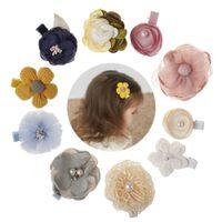 haarnadel perlen groihandel-Neue Kinder Kinder Haarnadel Barrettes Baby-Gewebe-Bogen-Blume mit Perle Kopfbedeckung Haarspangen Mädchen Kopfschmuck netten reizenden Accessoire