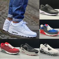 chaussures pour hommes occasionnels souples achat en gros de-Nike Air Max 90 shoes for men Hommes et femme Chaussures Noir Rouge Blanc Trainer Air Cushion Surface Respirant Souliers 36-45