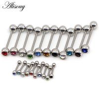 Wholesale nail stud piercing for sale - Group buy Alisouy Crystal Ball Two style short mm long mm G G Tongue Ear Stud Cartilage nail Tragus Bars Ring Barbell Piercing