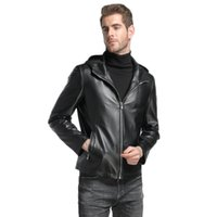 Wholesale men s hooded leather outerwear for sale - Group buy mens clothing outerwear faux leather coats hooded genuine leather sheep skin custom made black leather coats