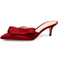 4b6286e0dc13 Kmeioo Sweet Mule For Women Bow Tie Mules Slip-on Kitten Heels Pointed Toe  Slippers Satin Dress Causal Shoes 6.5 CM