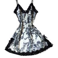 seksi bayan bezleri toptan satış-Yaz Kadın Pijama Ipek Gecelik Gecelik Sexy Lingerie Gecelik Bayan Kapalı Omuz Gecelik Kadın Gece Ev Bez Elbise