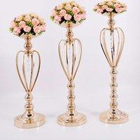 ingrosso fiori di piombo stradali-Portacandele in metallo oro piombo da tavolo centrotavola pilastro stand candelabro per matrimoni candelabri fiori vasi