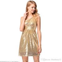 ein schulter pailletten miniparty kleid großhandel-Frauen Party Kleider Sexy One Shoulder High Waist Kleid Sparkle Golden Sequins Minikleid Pop Tide Sleeveless Club Kleidung