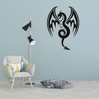 yapışkan vinil desenler toptan satış-Sıcak Ejderha desen oturma odası ofis duvar dekorasyonu çıkarılabilir kendinden yapışkanlı duvar sticker Hayvanlar Vinil Duvar Etiketler Kendinden yapışkanlı Dekor