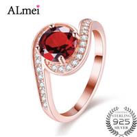 ingrosso anello d'argento rosso granato-Almei rosso granato testato argento 925 anelli di nozze in oro rosa gioielli dito accessorio per le donne con confezione regalo 40% FJ025