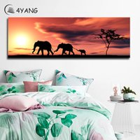 Wholesale home paint oil elephant art for sale - Group buy 4YANG Sunset Africa Elephant Oil Painting Colorful Wall Art Posters Prints Canvas Pictures for Living Room Bedroom Home Decor