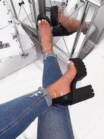 sandalia de tacón grueso transparente al por mayor-Verano Las mujeres de Nueva grueso de tacón alto sandalias de la manera Orange PVC sandalias de la jalea P. estrecha banda de zapatos transparentes